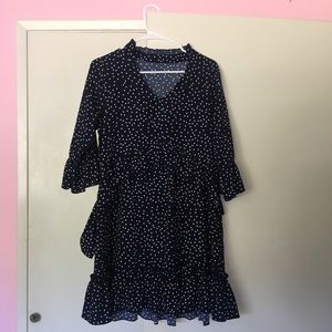 Navy polka dot ruffled dress, size M/L